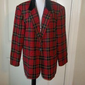 Timeless plaid blazer lined wool blend EUC